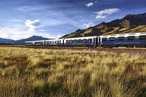 Travelling in style: The Belmond Andean Explorer is South America's first luxury sleeper train. One of the train's stops is at Lake Titicaca on the border of Bolivia and Peru. Picture: SUPPLIED