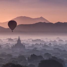 Mysterious Bagan by Joyce Chang - Landscapes Travel ( temple, stupas, forest, balloon, bagan )