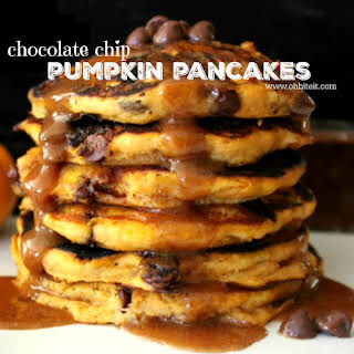 ~Chocolate Chip Pumpkin Pancakes…with Pumpkin Pie Syrup!.