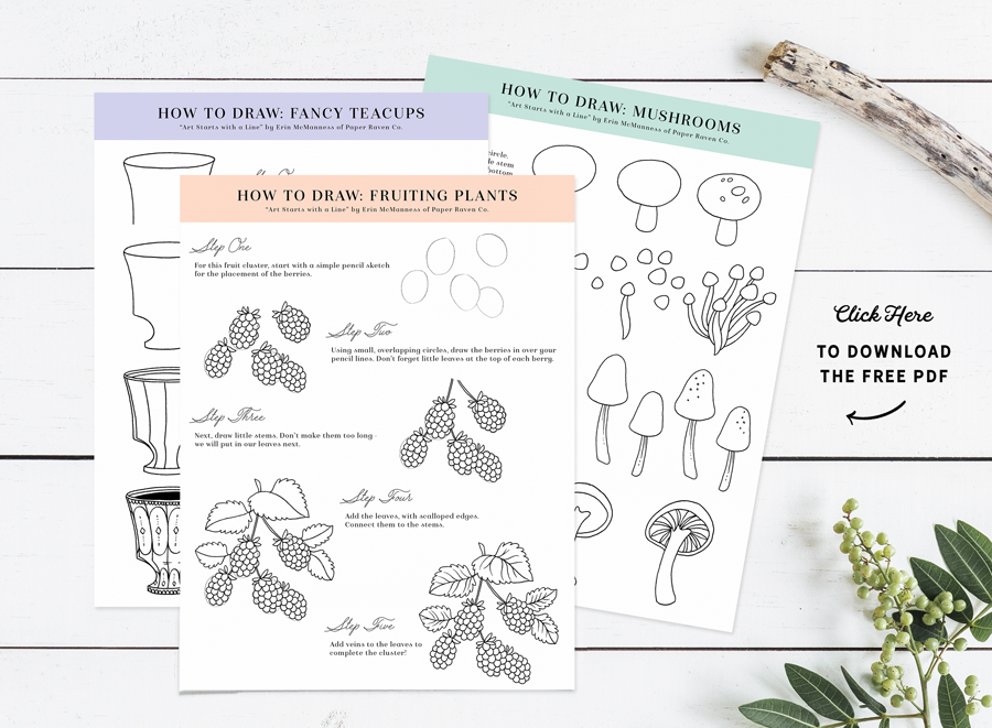 Paper Raven Co. Free Step-by-Step Drawing Guide | www.ShopPaperRavenCo.com #arttutorial #howtodraw #stepbystep