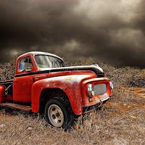 international hot rod by Kirk Kimble - Transportation Other ( clouds, red, ih, pickup, truck, international, weather, black )