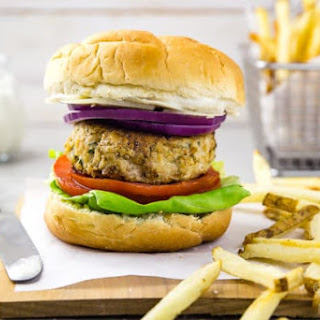 Chicken Caesar Burgers with Parmesan-Peppercorn Sauce.