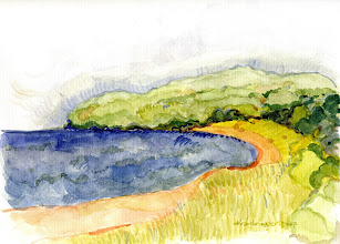 Photo: 2006 View of Lake Superior north of Moon Lake. Iron River, WI. Watercolor. Collection of Patty Loew.