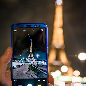 The S8 view by Nistorescu Alexandru - Instagram & Mobile Android ( #paris, #eiffel, #view, #night, #samsung,  )