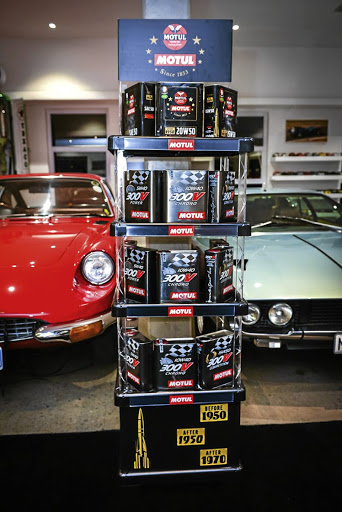 Motul products nestled between iconic classics. The Lamborghini Espada on the right celebrates its 70th anniversary this year. Picture: MOTUL SA