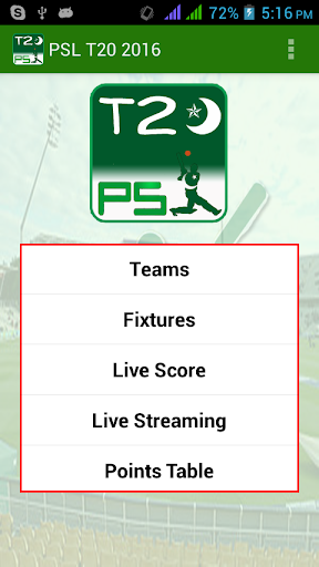Cricket PSL T20 2016
