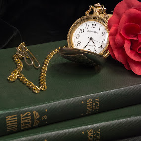 Time to Relax by Eva Ryan - Artistic Objects Still Life ( rose, books, time, read, pocket_watch,  )