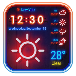 Weather App Neon Theme 2018