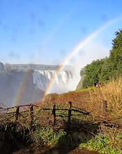 Photo: Double rainbow, Victoria Falls, Zimbabwe