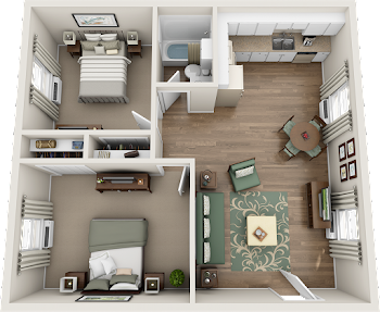 Go to Two Bed, One Bath Garden Upgraded Floorplan page.