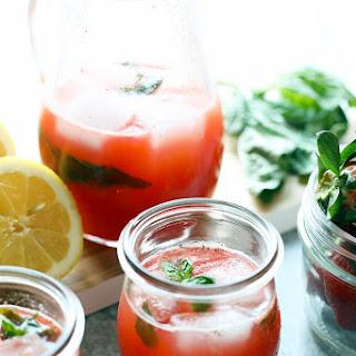 Homemade Strawberry Basil Lemonade.