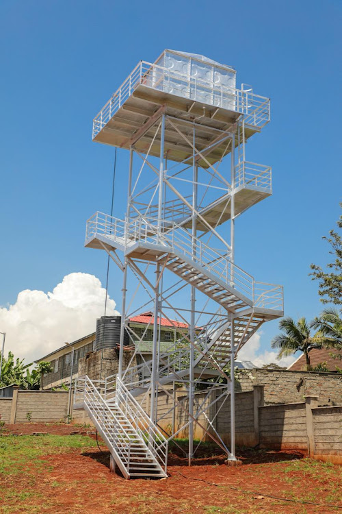 KARURI DISASTER CENTER: The tower commissioned to refill fire engines with water for rapid deployment