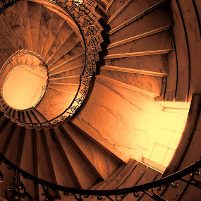Right to the top by Phil Robson - Buildings & Architecture Architectural Detail ( delaval hall, spiral staircase, northumberland, round, national trust,  )