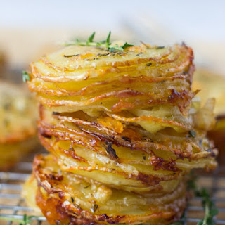 Gruyere and Thyme Stacked Potatoes.