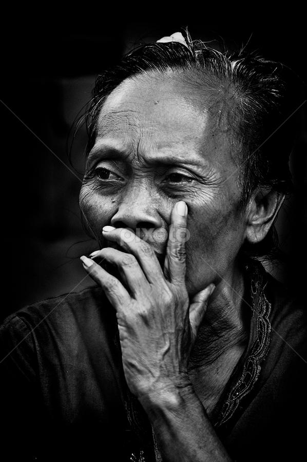 Thinking  by Edy Saputra - People Portraits of Women ( potrait, bali, old women, people )