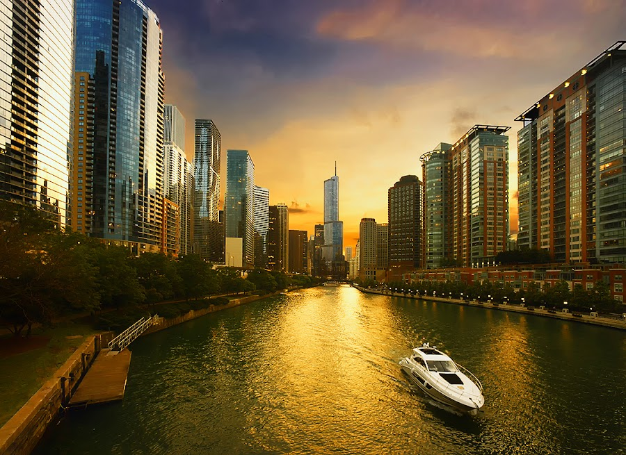 Evening Cruise by Jon Kinney - City,  Street & Park  Vistas ( boating, sunset, chicago, cityscape, rivers,  )