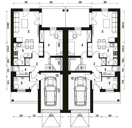 Makolągwa z garażem 1-st. bliźniak A-BL1 - Rzut parteru