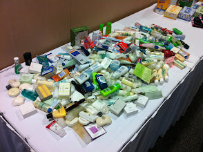 Photo: We asked all ladies to bring some samples from home. The center always needs hygiene items. WHAT A HAUL!!!