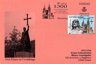 Photo: Tarjeta del matasellos Primer Día de Circulación del sello del 1300 aniversario del Reino de Asturias