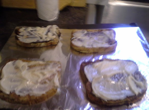 place 4 pieces of French Toast on baking pan (I covered mine in foil...