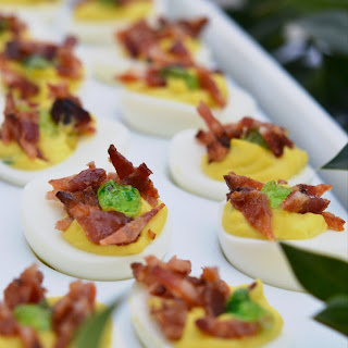 Candied Bacon Jalapeño Deviled Eggs.
