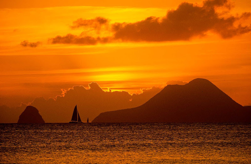Sunset over the bay fronting Anse Michel in Martinique.