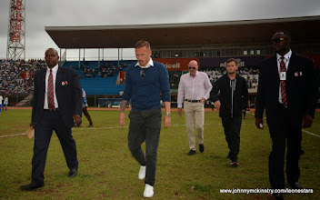 Photo: Recently retired Premier League star and Welsh International Craig Bellamy attended the game  [Leone Stars v Swaziland 31 May 2014 (Pic: Darren McKinstry)]