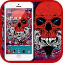Red skull theme graffiti icon