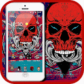 Red Skull Theme Cool Street Graffiti Art