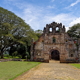 by Johannes Oehl - Buildings & Architecture Public & Historical ( natural light, cartago, old, cirrus cloud, lawn, america, ruin, earthquake, architecture, ecotourism, chapel, landscape, responsible tourism, creative image, historic, sustainable tourism, daytime, midday, ancient, tree, color image, culture and the arts, general view, ground level view, cultural tourism, costa rica, central america, architecture-photography, tourism facility, one object, scenic, geotourism, orosi valley, ujarrás, history, cumulus cloud,  )