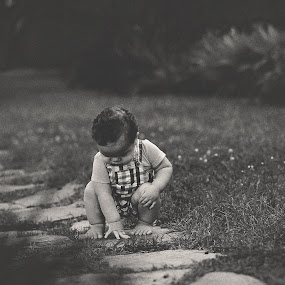 Learning by Maria Lucas - Black & White Portraits & People ( fine art photography, childhood, black and white, photography, child,  )