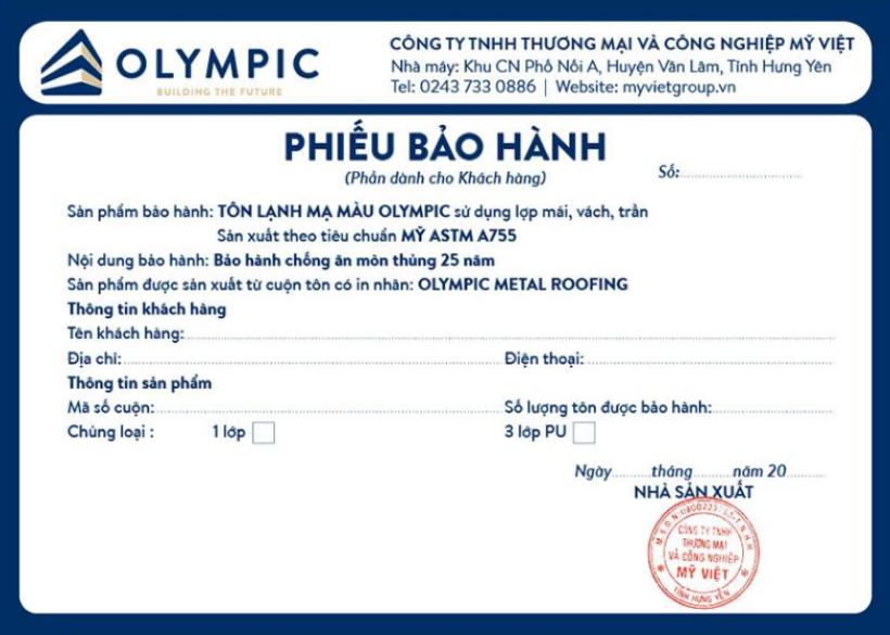 Tôn Olympic được bảo hành lên đến 25 năm