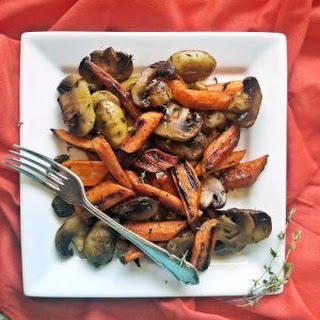 Roasted Carrots and Mushrooms with Thyme - Savory Roast Carrot Side Dish Recipe