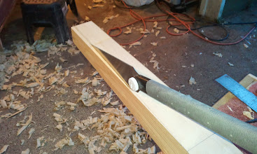 Photo: I removed the bulk of material with a saw and used a jack plane to taper the heel of the mast.