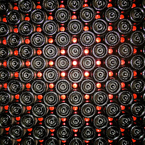 Wine bottles by Jennifer Lamanca Kaufman - Abstract Fine Art ( abstract, wine, stacked, red, bottles, black )