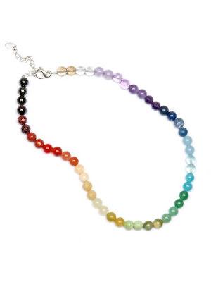 Regnbågshalsbandet 45 cm med eller utan knut mellan pärlorna
