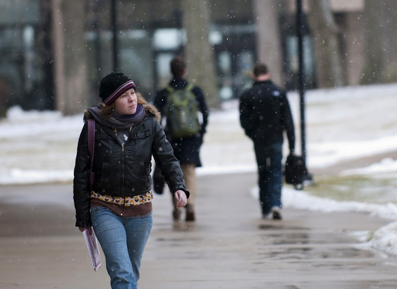 Photo: Between classes on a wintry first day of spring 2012 classes at Waubonsee Community College, Sugar Grove Campus.