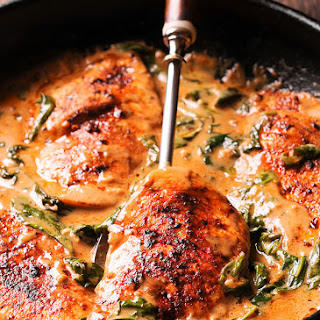 Chicken and Spinach in Creamy Paprika Sauce.