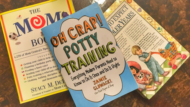 Stack of three parenting books