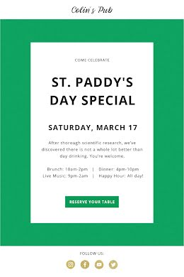 St. Paddy's Day Special - Short Email item