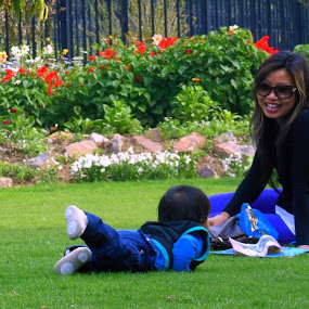If you obey all the rules you miss all the fun. by Shafaly Sharma - Captioned Photos Mother's Day ( playing, love, mother, outdoor, kids, people )