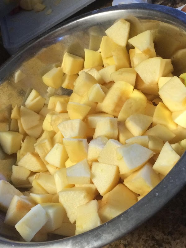 Peel, core, and cut your apples into chunks.