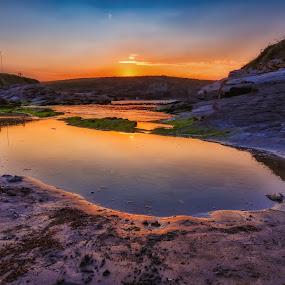 End of day by Jose María Gómez Brocos - Landscapes Sunsets & Sunrises ( sky, sunrise, rocks, beach, sunset, water, sun )