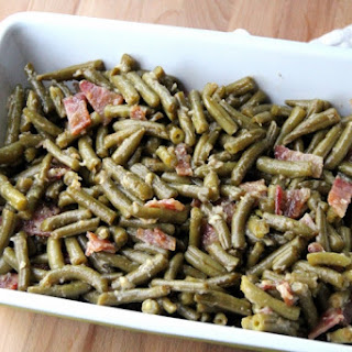 Smothered Bacon Green Bean Casserole.