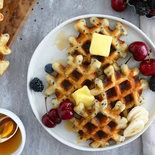 Buttermilk Waffles With Bananas And Black Sesame.