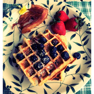 Blueberry Lemon Ricotta Poppyseed Waffles