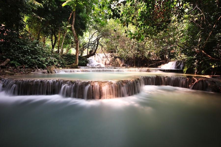 Kuang Si Falls, Luang Prabang, Laos. by Simon Pickles - Landscapes Travel ( kuang, laos, prabang, falls, 10 stopper, long exposure, luang, 10 stop, si )