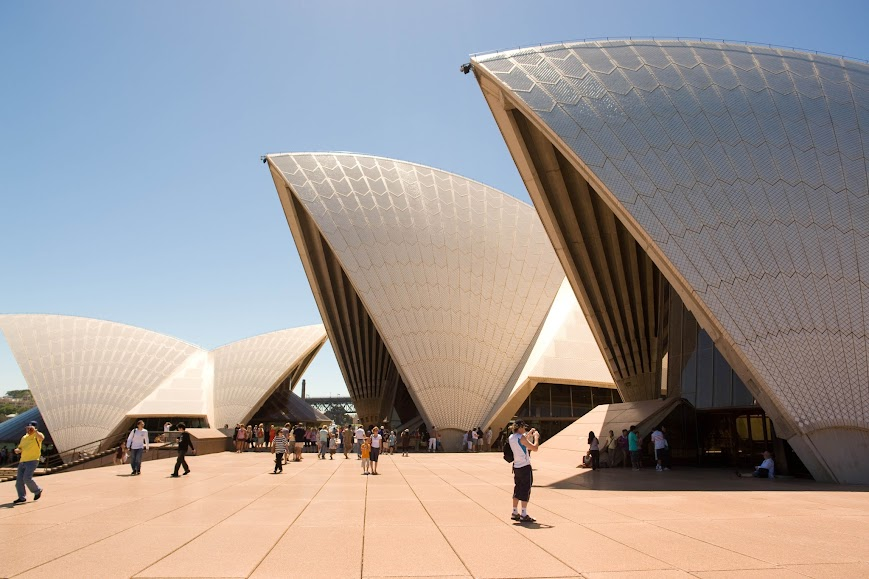 Visitors are shooting outside of Opera House