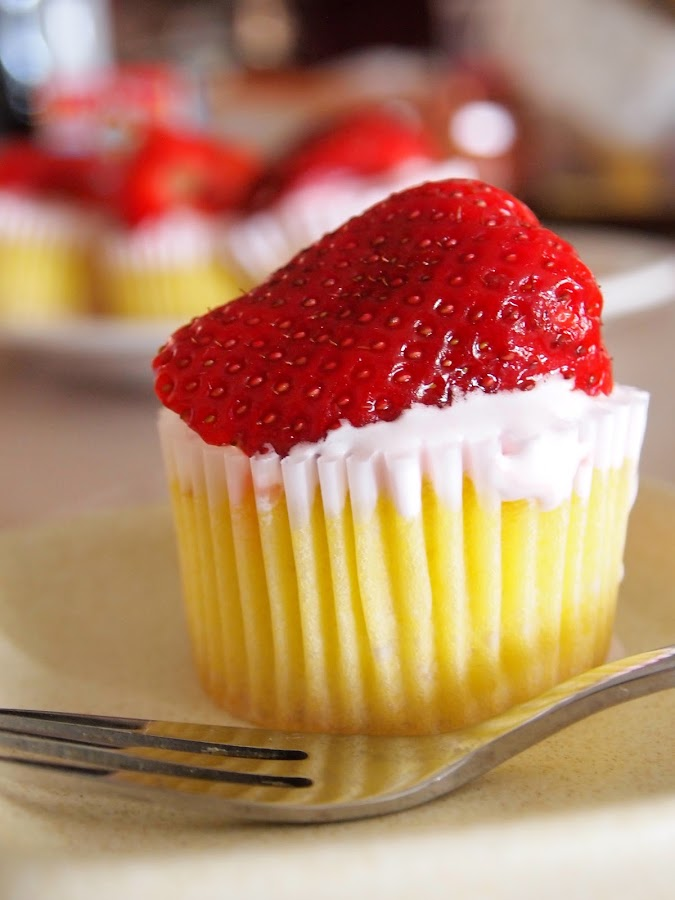 Strawberry cupcake by Ena Arip - Food & Drink Cooking & Baking ( red cupcake, cupcake, fresh strawberry cupcake, strawberry,  )
