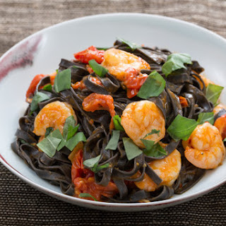Squid Ink Linguine Pasta with Shrimp & Cherry Tomatoes
